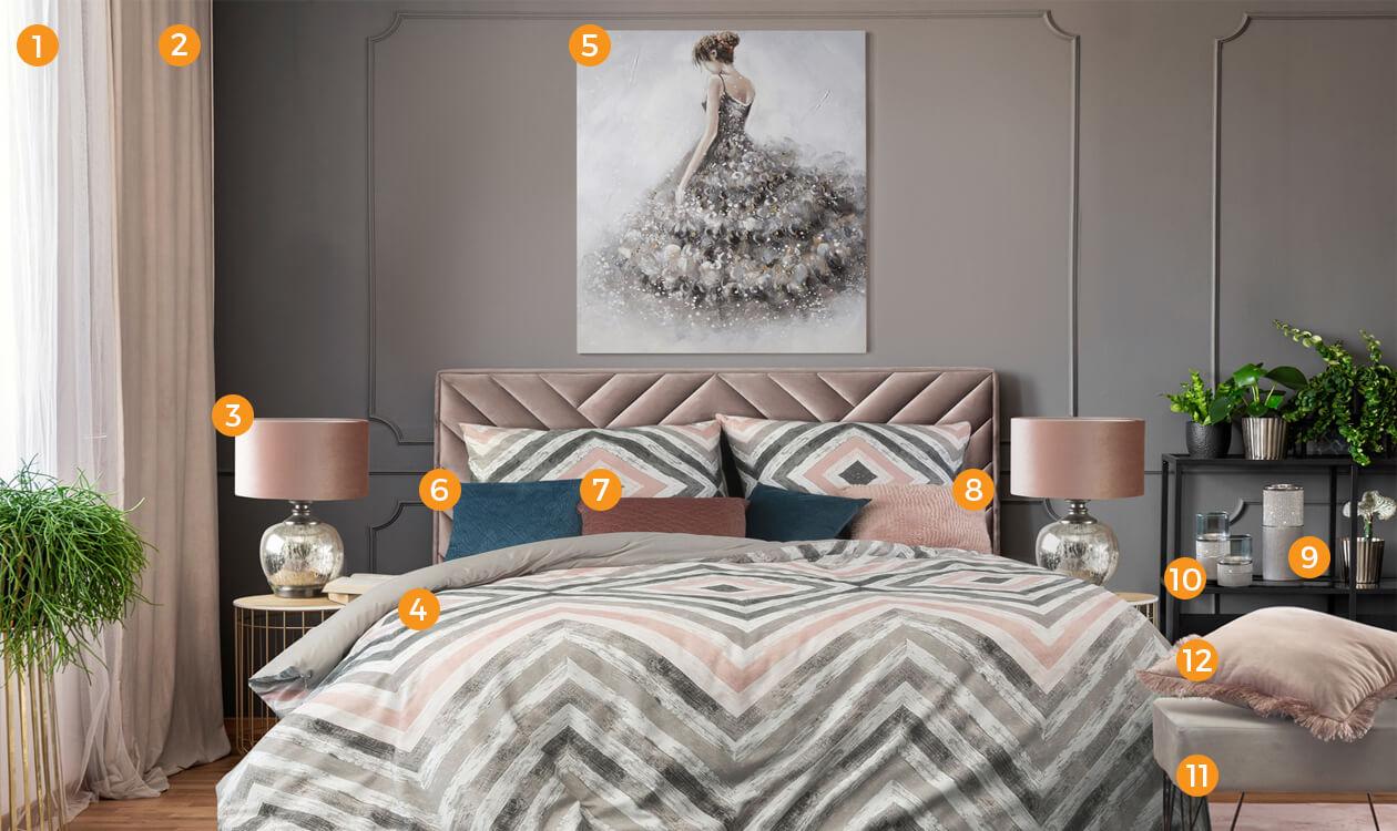 sypialnia w stylu glamour eurofirany