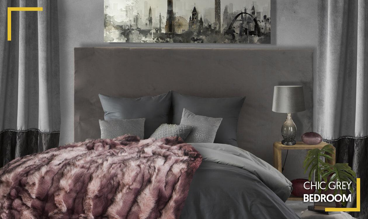 Kup aranżację Chic Grey Bedroom. Aranżacja szarego wnętrza.
