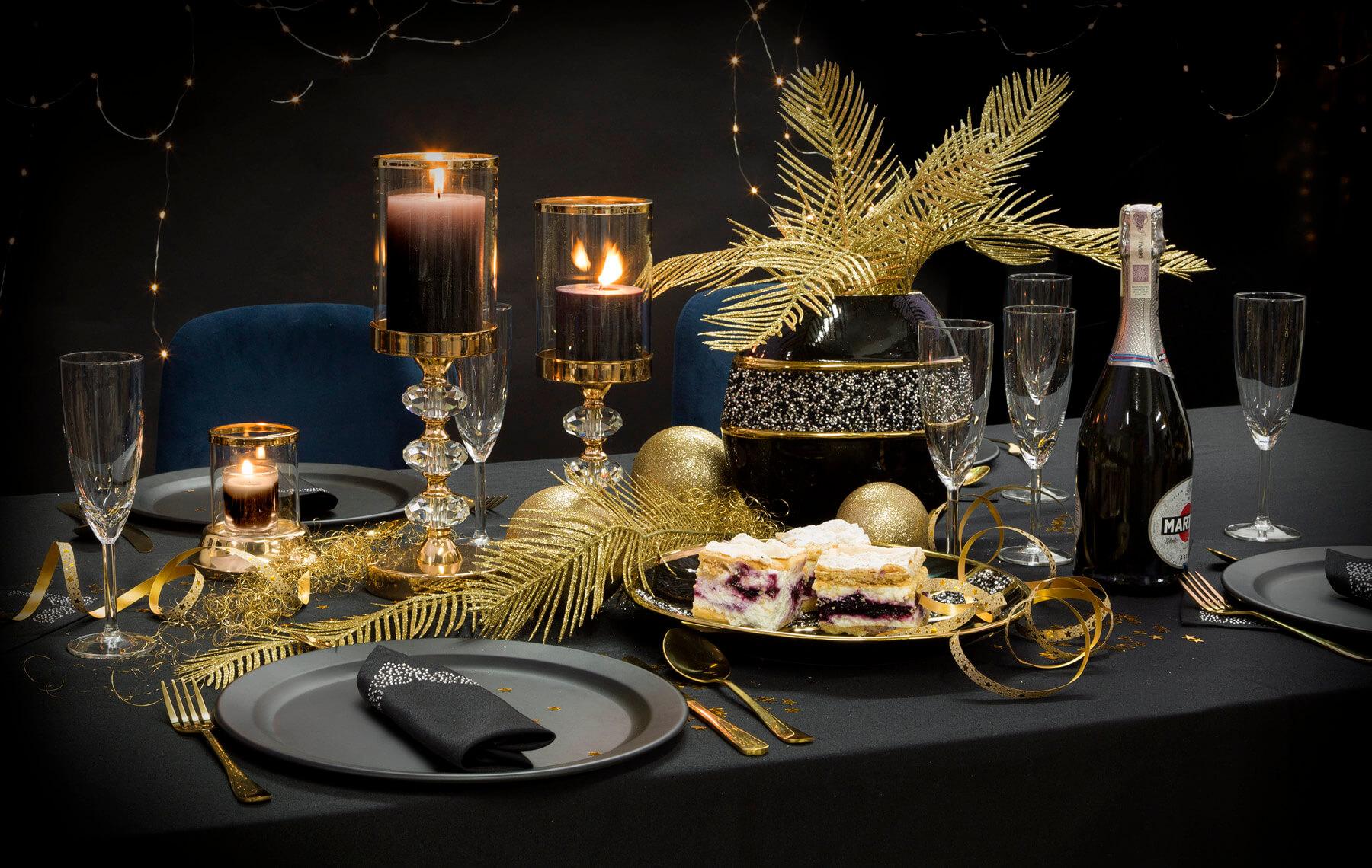 Dekoracja stołu na sylwestra – kup gotową aranżację
