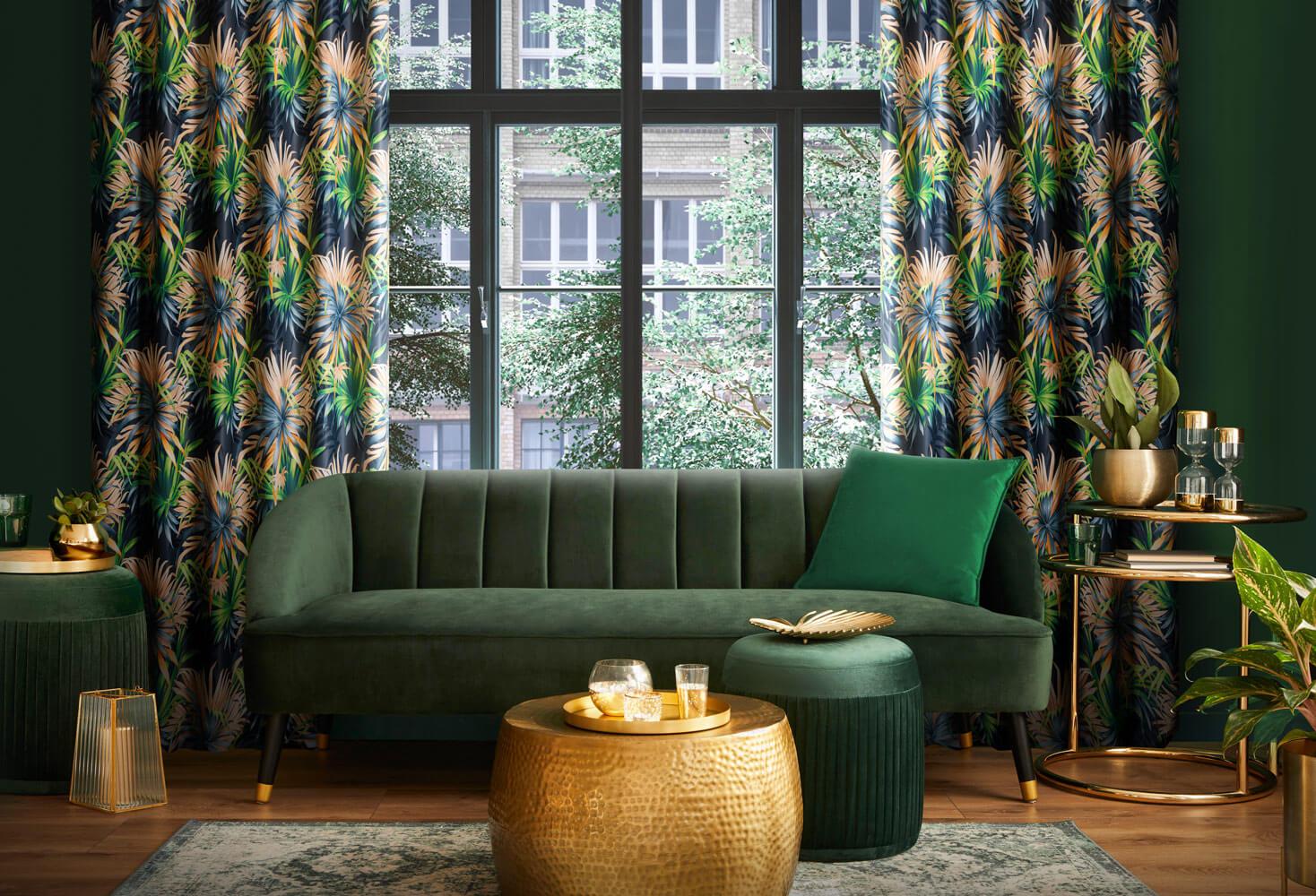 Jaki kolor zasłon do zielonych ścian?