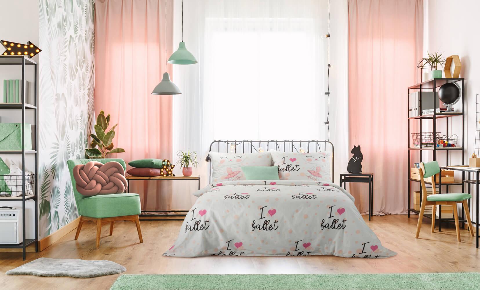 miętowa sypialnia