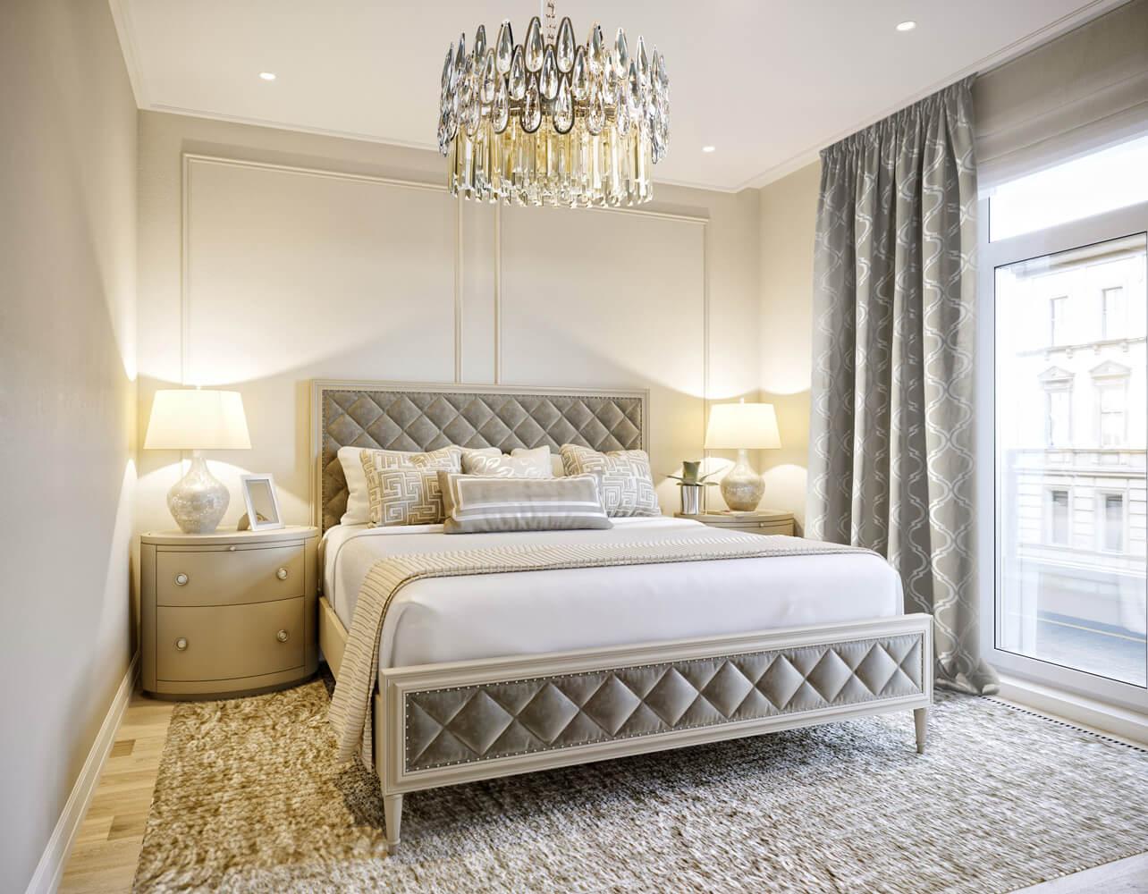 Jak urządzić beżową sypialnię w stylu glamour?